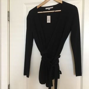 NWT Black wrap sweater
